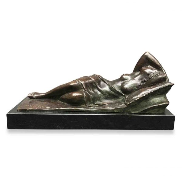 Italian 19th Century Bronze Sleeping Venus Sculpture Signed E Sala Marble Base
