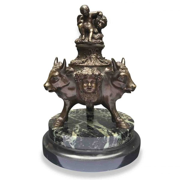 20th Century Italian Bronze Inkwell with Bull Heads and Putti Embracing Lion