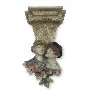 coppia di mensole liberty in ceramica c
