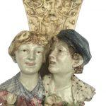 coppia di mensole liberty in ceramica o