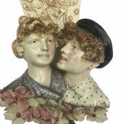 coppia di mensole liberty in ceramica p