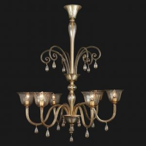 lampadario decò in vetro veneziano color visone