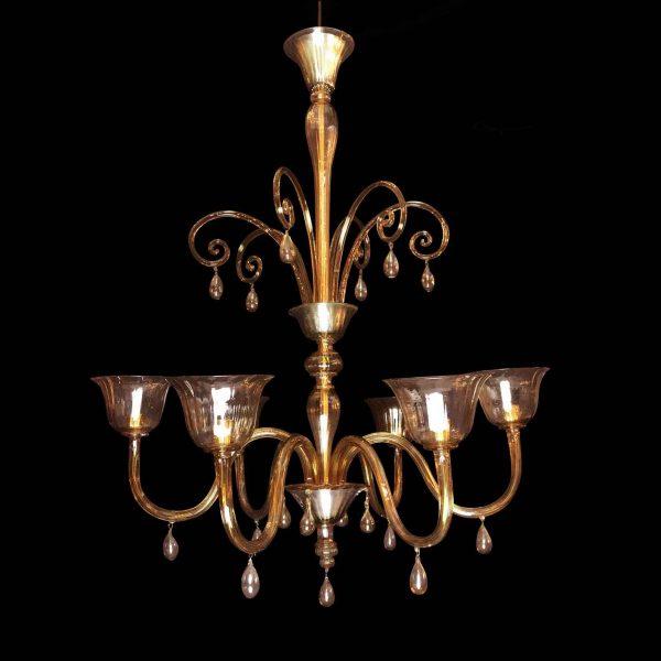 Deco Venetian Murano Glass Six-arm Chandelier 1920 circa
