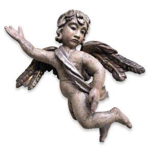 angelo annunciante in legno