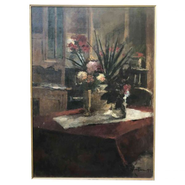Italian Flower Still Life Large Italian Painting by Achille Cattaneo 1927