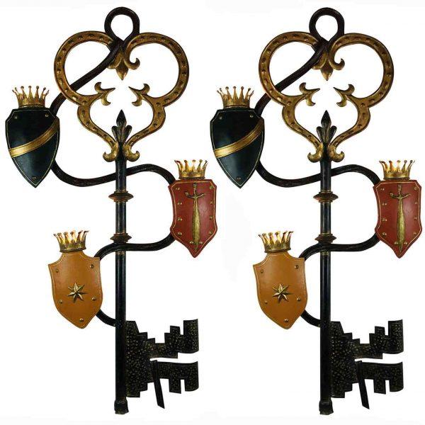 Palladio Italy Pair of Large Sconces Heraldic Key-shaped Iron Wall Light 1970