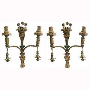 coppia di appliques in ferro battuto 1800