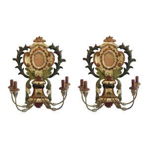 coppia di appliques in legno argentato