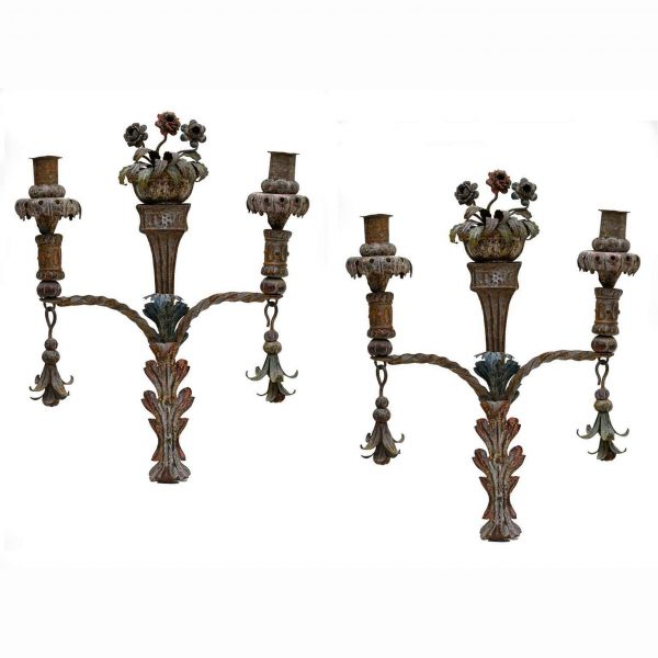 Pair of 19th-Century Italian Floral Sconces Hand-Forged Wrought Iron Wall Lights