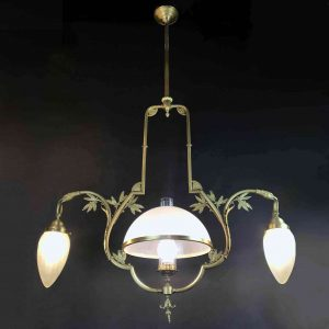 20th Century Italian Bronze Chandelier Deco Lighting