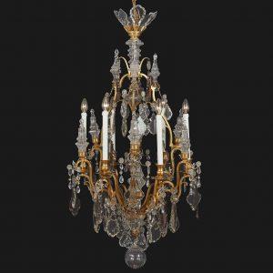 lampadario francese inizi 1900 bronzo dorato e cristallo q