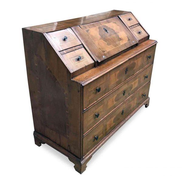 18th Century Italian Bureau Large Walnut Flap Chest of Drawers