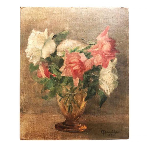 Italian Still Life of Roses Painted by Giuseppe Amisani 1934