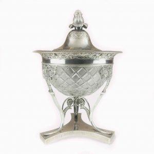 compostiera antica in argento e cristallo prima metà dell'ottocento