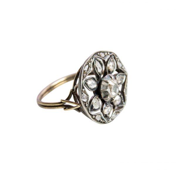 Anello in Oro e Argento con Diamanti