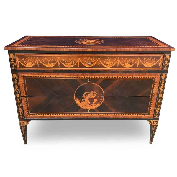 Italian 18th Century Louis XVI Marquetry Chest Of Drawers