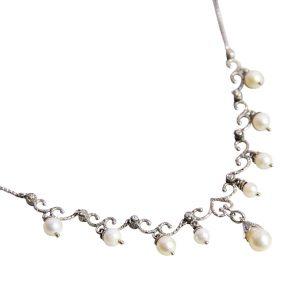 collana perle e diamanti oro bianco .jpg