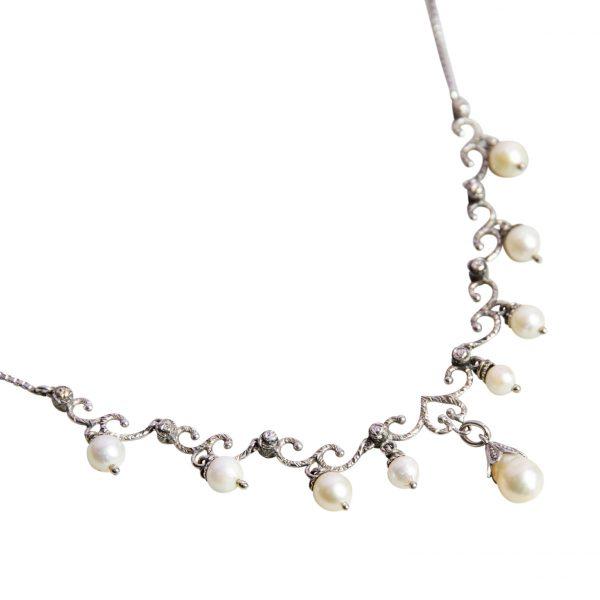 Collana Perle e Diamanti Oro Bianco