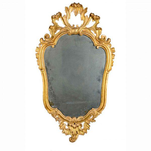 18th Century Italian Giltwood Mirror with Mercury Plate