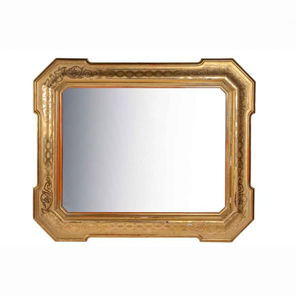 Italian 19th Century Louis Philippe Gilt-Wood Mirror Bulino Carving and Mercury Glass
