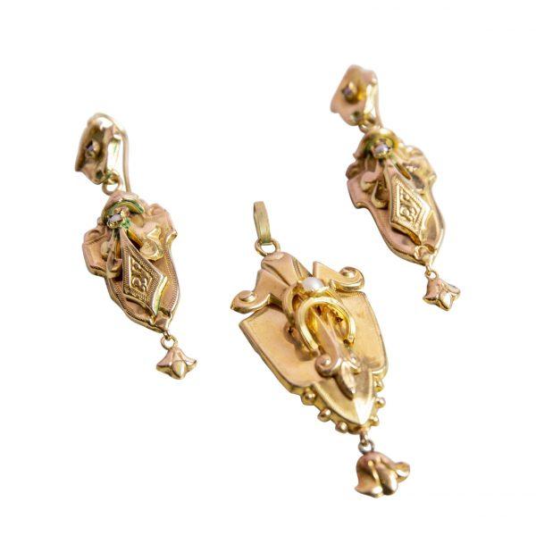Parure Orecchini e Ciondolo Borbonico in Oro Basso
