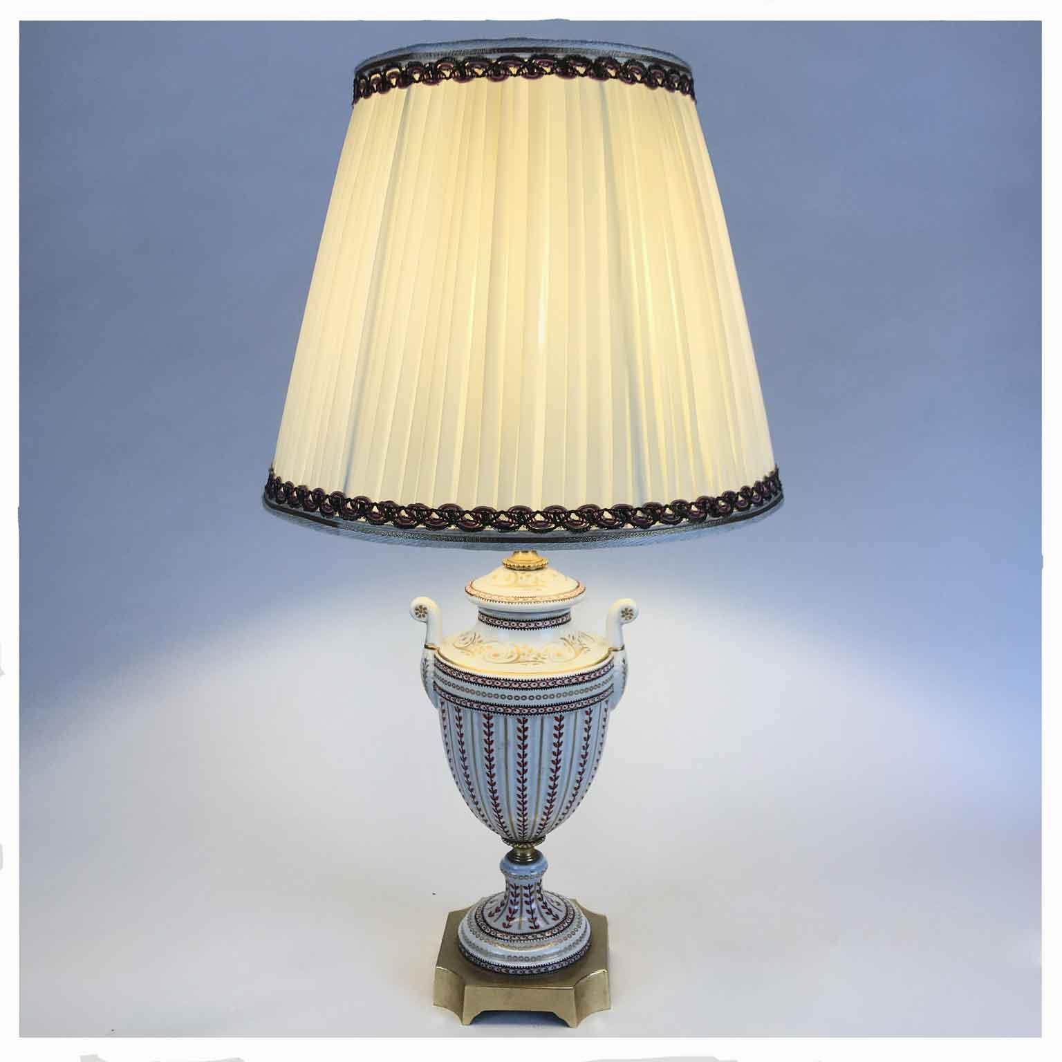Lampada da Tavolo in Porcellana Decorata