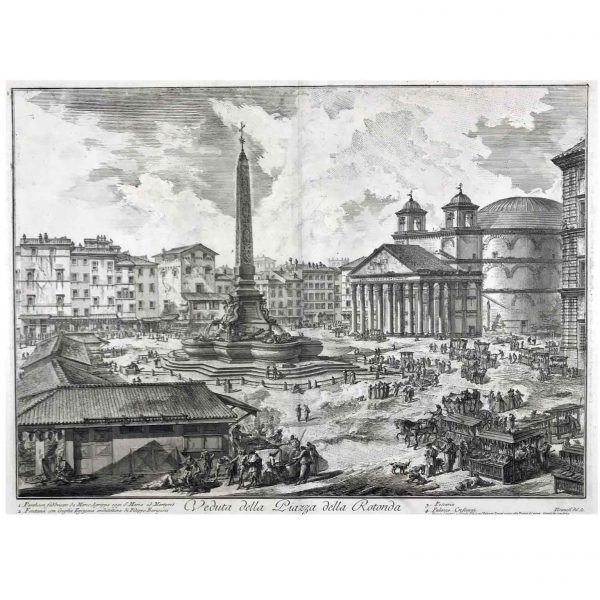 Piranesi Giovanni Battista Etching Ancient Roman View Piazza della Rotonda 1751