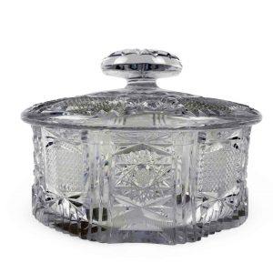 ciotola portadolci con coperchio in cristallo molato