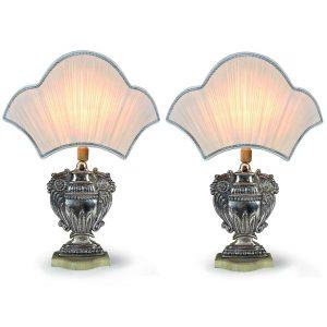 coppia di lampade in rame argentato con ventola