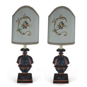 coppia lampade salotto ricami antichi