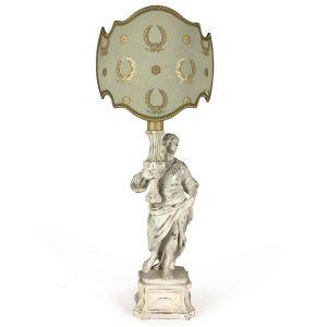 lampada da salotto, angelo in legno intagliato