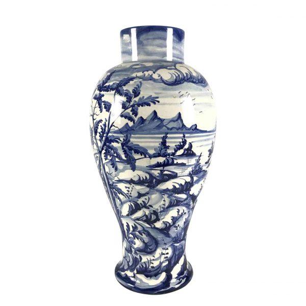 Vaso Ceramica Bianca Blu Famiglia Taccini Vinci 1976