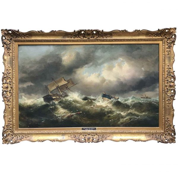Bromley John Mallord 19th Century Stormy Sea English Marine Painting with Boats