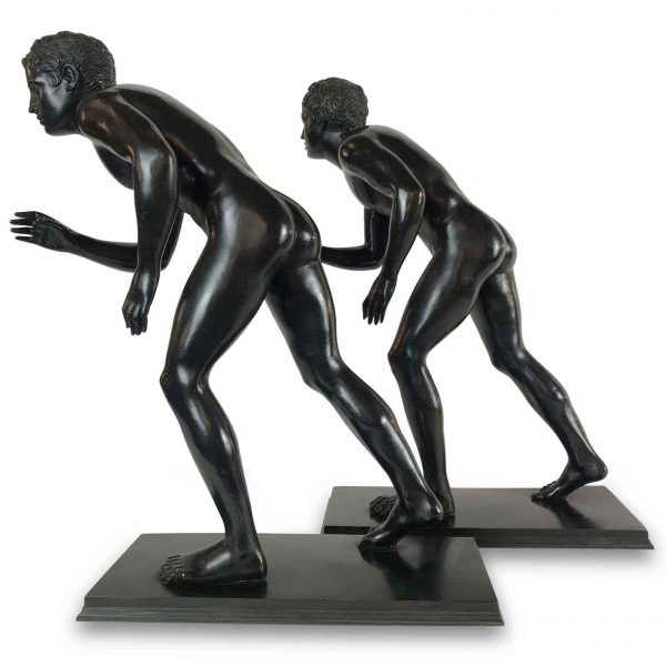 Italian Grand Tour Bronze Runner Sculptures Early 20th Century
