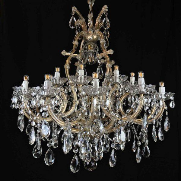 20th Century Italian Crystal Chandelier Maria Therese Style Twentyone Lights Two-Tier