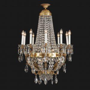 lampadario in bronzo dorato e cristallo