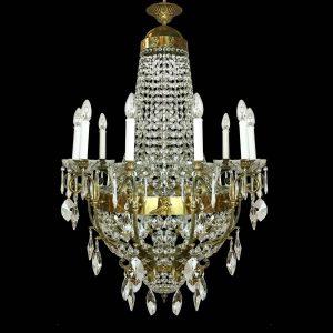 lampadario in bronzo dorato e cristallo b