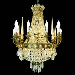 lampadario-stile-impero-bronzo-dorato-cristallo-e-obelischi a