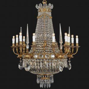 lampadario stile impero bronzo dorato cristallo obelischi