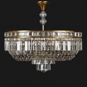 plafoniera ovale in cristallo a otto luci