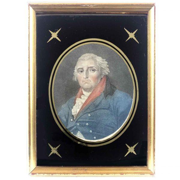 18th Century English Miniature Etching Philip James de Loutherbourg Portrait