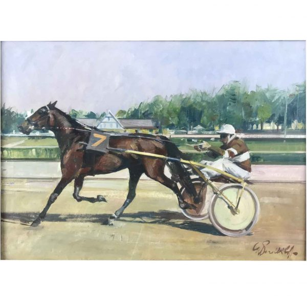 Perelli Cippo Italian Racing Horse Trotting with Jockey 1980 Framed Titled