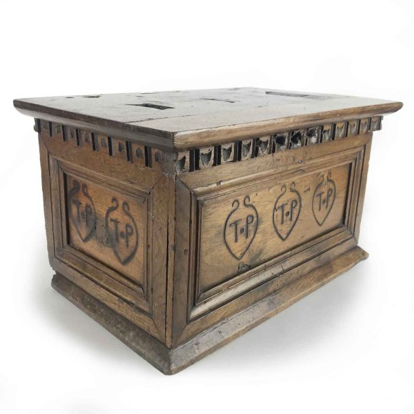 17th Century Italian Walnut Almsgiver Box with TP Initials
