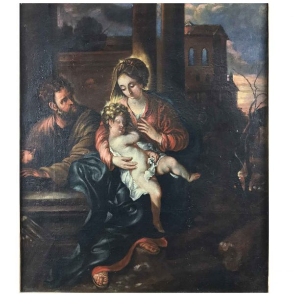 18th Century Italian Nativity Madonna With Child and Saint Joseph after Baroque Genoese School