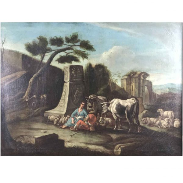 18th Century Italian Neoclassical Painting Landscape with Ruins Figures Herds