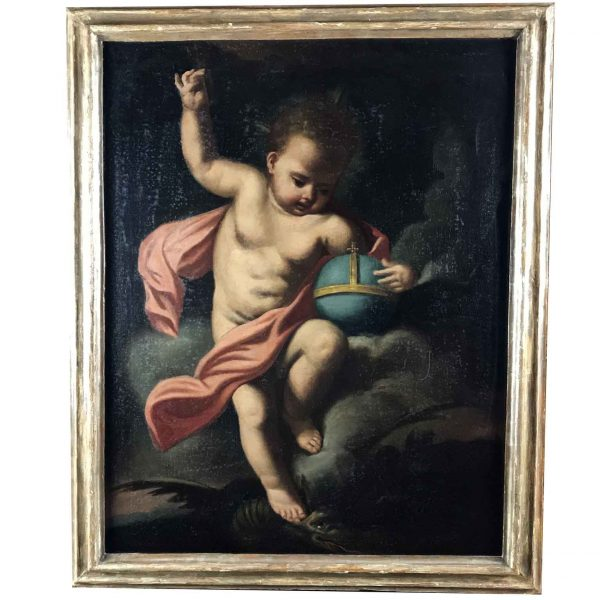 Christ Child as Salvator Mundi 18th Century Italian oil on Canvas Painting