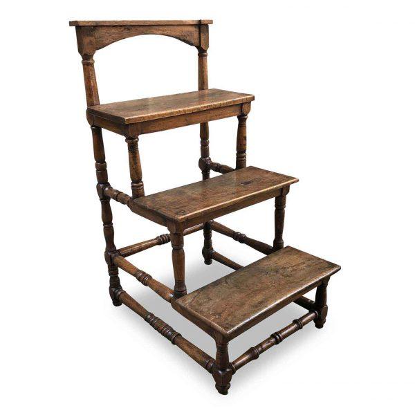 17th Century Italian Walnut Library Steps Baroque Rocchetto Ladder