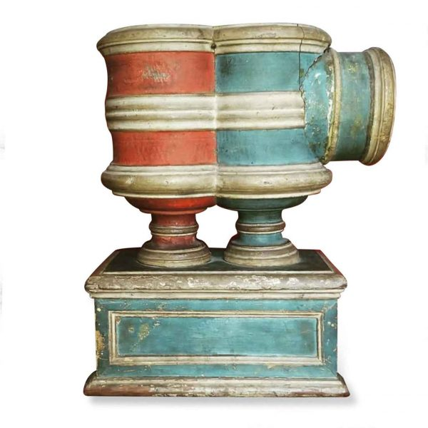 17th Century Italian Carved Painted Ballot Voting Urn Yes or NO