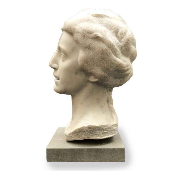 Aurelio Bossi Busto di Donna in Marmo Bianco