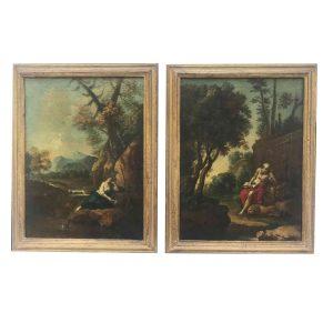 coppia di paesaggi antichi